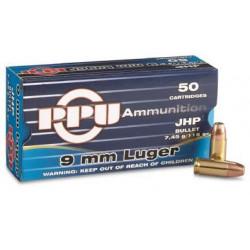 Ammo 9mm L 147gr PPU JHP 50's
